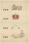 783 Een tekening met als onderwerp de hertogen Reinald II en Reinald III en zijn broer Eduard. Afgebeeld zijn: een ...