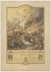 798 Een herinneringsprent van na de Tweede Wereldoorlog met de tekst: Nederland bevrijd door de Geallieerden de ...