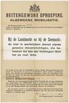 801 Een aanplakbiljet aan het begin van de Tweede Wereldoorlog met een buitengewone oproep voor de algemene mobilisatie ...