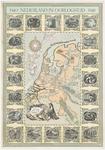 802 Een herinneringsprent van de Tweede Wereldoorlog in de vorm van een landkaart van Nederland. Zowel op de kaart als ...