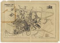 814 Een plattegrond van de Tielse binnenstad tijdens de Tweede Wereldoorlog. Rechtsonder zijn alle belangrijke gebouwen ...