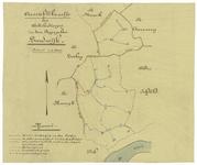 818 Een situatiekaartje van de dorpspolder Zandwijk met de watergangen nodig voor de waterhuishouding van deze polder. ...