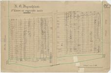 826 Een tekening met een plattegrond van de rooms-katholieke begraafplaats aan de J.D. van Leeuwenstraat in Tiel, met ...