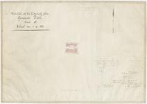 829 Een detailkaartje van sectie E in de Tielse binnenstad. Het betreft het deel van sectie E, nummer 2381, tussen de ...