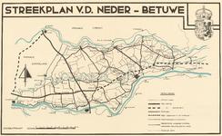 1354 Een kaart van de Neder-Betuwe uit het streekplan van 1938, met een overzicht van wegen en het geprojecteerde ...
