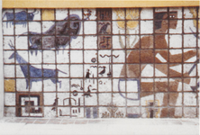 M 11827 De drukkerij Sint-Maarten aan de Damstraat. De ondergevel is versierd met een tegeltableau dat ontworpen en ...