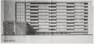 M 724 De tekening van de zuidgevel van de toekomstige verzorgingsflat Waal-Linge, gelegen aan de Wadenoijenlaan