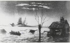 M 7760 Schilderij van een watersnood, mensen in roeiboot, ondergelopen gebied