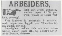 M 8704 Advertentie voor arbeiders bij VEER, Aalsmeer, er worden grote gezinnen gevraagd, verwacht wordt dat ook de ...