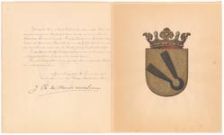 690 Diploma verleend door de Hoge Raad van Adel van het wapen van de gemeente Maurik