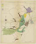 262 Een kaartje waarop in kleur de stukjes gemeentegrond zijn aangegeven die van de ene gemeente naar de andere ...