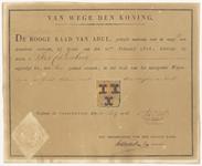 5883 Diploma verleend door de Hoge Raad van Adel van het wapen van de gemeente Culemborg