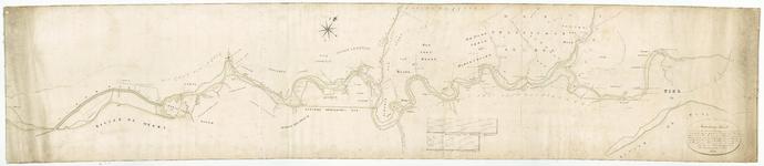 417 Kaart van het stroomgebied van de Linge tussen Tiel en Gorinchem, het Kanaal van Steenenhoek, een stukje Diefdijk ...