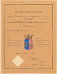 2306 Diploma verleend door de Hoge Raad van Adel van het wapen van het Polderdistrict Neder-Betuwe