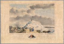 50 Een prent van de kruing van het ijs op de Waal bij Ochten op 24 januari 1789. De afbeelding laat een enorme ijsberg ...