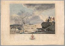 51 Een prent van de dijkdoorbraak te Ochten op 1 maart 1784. Links op de prent de door het stijgende water bedreigde ...
