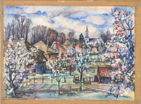 72 Een aquarel met een gezicht op een dorpje met een kerkje, met bomen die bloesem dragen, gezien vanaf een dijk