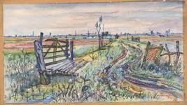 73 Een aquarel met een polderlandschap met aan de horizon molens, schoorstenen van steenfabrieken