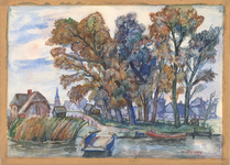 76 Een aquarel van het veer van Mariënwaerdt gezien richting Enspijk. Links op de tekening de boerderij van Van ...