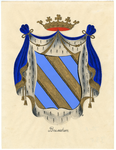 80 Een tekening van het gemeentewapen van Beusichem, dat als volgt wordt omschreven: Een schild van goud, beladen met ...