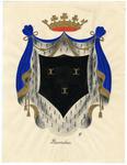 81 Een tekening van het gemeentewapen van Buurmalsen, dat als volgt wordt omschreven: Een schild van sabel, beladen met ...