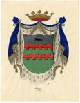 82 Een tekening van het wapen van Acquoy, dat als volgt wordt omschreven: In zilver twee beurtelings gekanteelde ...