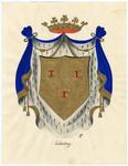 83 Een tekening van het gemeentewapen van Culemborg, dat als volgt wordt omschreven: Een schild van goud beladen met 3 ...