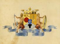 84 Een tekening van het wapen van het Waterschap Beneden Linge, dat als volgt wordt omschreven: Omgekeerd ...