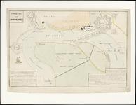 238 Kaart met bovenaan de stadsrand en de citadel en er tegenover het Vlaamse Hoofd met geïnundeerde land. Op de rivier ...
