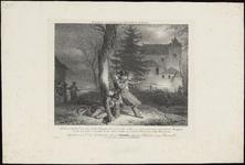 256 Historieprent; Op de voorgrond in het schemerduister de schietende fuselier Clausse terwijl de gewonde Eugster zich ...