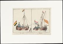 271 Spotprent op de onzekere stand van zaken in de betrekkingen tussen België en Nederland. De prent is in twee delen. ...