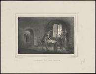 441 Historieprent; generaal Chassé gezeten aan een ronde tafel voor het raam in zijn kazemat van het citadel, omringd ...