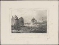 442 Historieprent; gezicht op de verwoeste bebouwing van het binnenterrein van de citadel. Uit: Six vues des ruines de ...