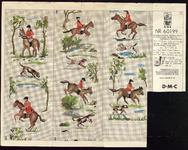 7679 Dit is een borduurpatroon in kleur voor een schellekoord: zes ruiters te paard