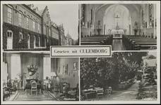 608 4 afbeeldingen: pensionaat, kapel, huiskamer, tuinzicht