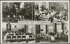 611 4 afbeeldingen: sportveld, klaslokaal, eetzaal, huiskamer