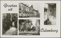 613 4 afbeeldingen: tuinzicht, pensionaat Mariakroon, sportveld, Chambrete