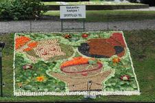 Mozaiëken Fruitcorso 2013. Mozaiek met als titel Vakantie-kiekjes, gemaakt en gesponsord door Sportplaza Tiel