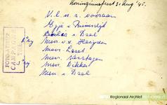 D 79 Tekst achterop de foto 'Optocht Nieuweweg na oorlog'