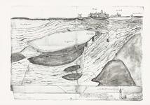 73 Een rivierkaart van het gebied bij Tiel, Wamel en Zandwijk, waarop de zanden zijn aangegeven. Deze zanden waren vaak ...
