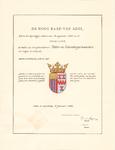 2269 Diploma verleend door de Hoge Raad van Adel van het wapen van het polderdistrict Tieler- en Culemborgerwaarden