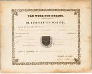 1700 Diploma verleend door de minister van Justitie van het wapen van de gemeente Buurmalsen