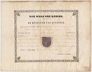 2424 Diploma verleend door de Hoge Raad van Adel van het wapen van de gemeente Est & Opijnen