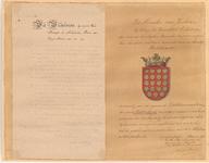1000 Diploma verleend door de minister van justitie van het wapen van de gemeente Geldermalsen 1919, met opgeplakt het ...
