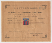 1435 Diploma verleend door de minister van binnenlandse zaken van het wapen van de gemeente Ophemert, met bijlage