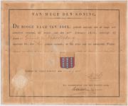 1118 Diploma verleend door de Hoge Raad van Adel van het gemeentewapen van de gemeente Waardenburg