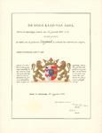 3000 Diploma verleend door de Hoge Raad van Adel van het wapen van de gemeente Lingewaal