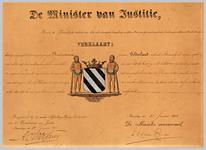 1134 Diploma verleend door de minister van justitie houdende bevestiging van het wapen van de gemeente Hurwenen ...