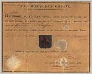 13 Diploma verleend door de Hoge Raad van Adel van het wapen van de gemeente Rossum