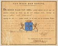 1069 Diploma verleend door de Hoge Raad van Adel van het wapen van de gemeente Zaltbommel